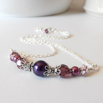 Purple Bridesmaid Jewelry, Purple Bead Necklace, Dark Purple and Plum Wedding Jewelry, Pearl and Crystal Necklace, Bridesmaid Gift Jewelry