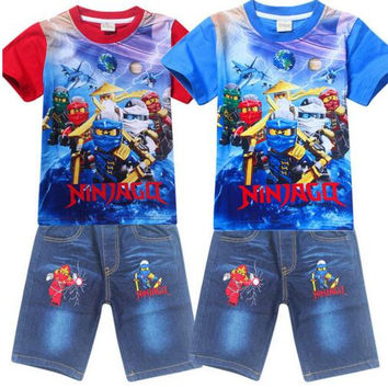 Legoe Ninja Ninjago Boys Clothing Sets Children Costume Cartoon Bobo Choses Short Sleeve T Shirt+Jeans 2pcs/set Kids Clothes