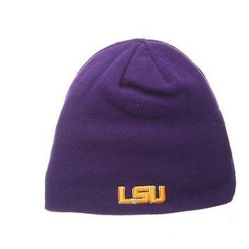 Licensed Lsu Tigers Official NCAA Edge Adjustable Beanie Knit Sock Hat by Zephyr 267769 KO_19_1