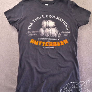 HARRY POTTER WOMEN'S Shirt Butterbeer at The Three Broomsticks in Hogsmeade Gals Fitted Stretchy Dark Grey Tee