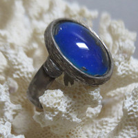 Vintage Mood Ring 1970s Boho Hippie Size 8 Silver Tone Setting