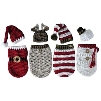 Newborn Baby Crochet Knitted Photography Wrap Christmas Bebe Santa Elk Sleeping Bag + Hat Xmas Costumes Photo Props Accessories