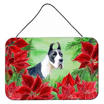 Harlequin Great Dane Poinsettas Wall or Door Hanging Prints CK1292DS812