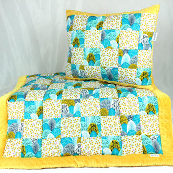 Baby Quilt Blanket Patchwork Overlay Throws Pillow Bedding Set handmade infant toddler Trees Minky Gots Yellow Turquoise Organic Cotton