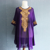 Purple Tunic Caftan Dress, Gold Embroidery Kaftan, Bridesmaid Wedding Party Summer Dress, Batwing Style Blouse