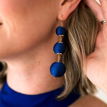 Perfect Trio Royal Blue Drop Earrings