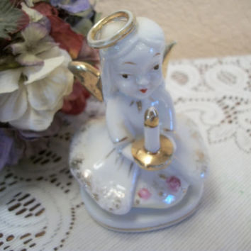Angel Figurine White Porcelain Girl Holding Candle Vintage 1950's Home Decor Collectible Giftware Made in Japan