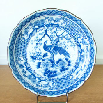Ten inch Blue Peacock shallow bowl by Andrea by Sadek, blue and white porcelain