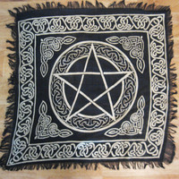 "Pentacle Altar Cloth 18"" Tarot Gold and Black Pagan Wicca Witch NEW IN PACKAGE"