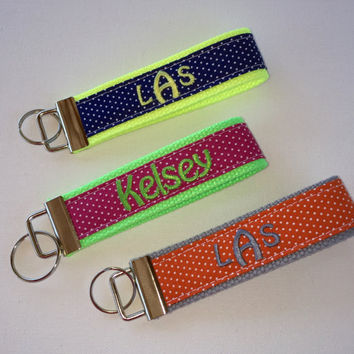 Key FOB / KeyChain / Wristlet  - 3 initial or name monogram on your choice of pin swiss dots preppy -  custom design your own personalize