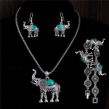 Free Shipping classic pretty elephant shape elegant  jewelry set of necklace/ bracelet /earrings Mix Options 4 Color Turquoise Green