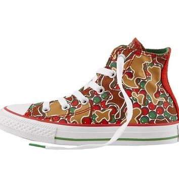 Converse Kids' Grade School Chuck Taylor All Star Gingerbread Hi-Top Casual Shoes Red/Green