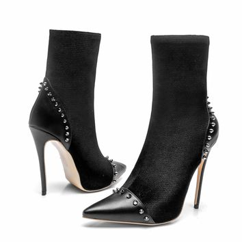 Black Rivet High Heel Pointed Toe Calf Boots