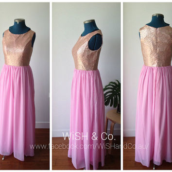 Pick Your Colour Gold Sequin Top Sleeveless Pink Long Chiffon Maxi Gown - Floor Length Bridesmaid Dress MS002
