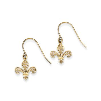 Fleur De Lis Filigree Dangle Earrings in 14k Yellow Gold