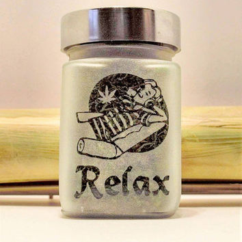 Relax with Pot Leaf Etched Glass Stash Jar - Recreational Herb or Medical Marijuana Herb storage