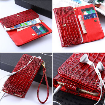 Classical Luxury Crocodile Leather Cell Phone Case Bags For iPhone 7 Plus 6 6S Plus 5 5S SE For LG G4 G3 G2 Universal PU Cover
