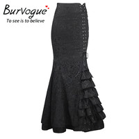 Burvogue 2016 High Waist Bodycon Long Skirts Fishtail Lace-Up Slim Vintage trumpet Skirts Stylish Long Mermaid skirt for women