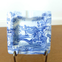 English blue toile transferware ashtray, trinket dish