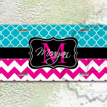 Personalized License Plate - Magenta chevron and Turquoise quatrefoil with Black monogram, custom name or initials, front car plate - 226