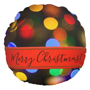 Multicolored Christmas lights. Add text or name. Round Pillow