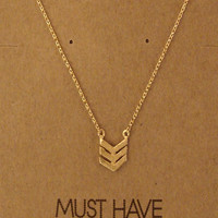 Chevron Pendant Necklace- Available in Gold & Silver