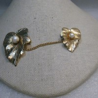 Vintage Sarah Coventry Leaf Sweater Guard, with faux Pearls, 1960's-1970's, Gold Tone