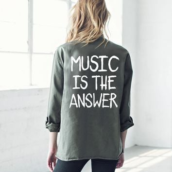 MUSIC IS THE ANSWER VINTAGE ARMY JACKET