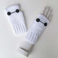 Big Hero 6 Baymax Wristwarmers, Marvel Comics, Disney, Fingerless Mitts, Crocheted Texting Gloves, Adorable Stocking Stuffer