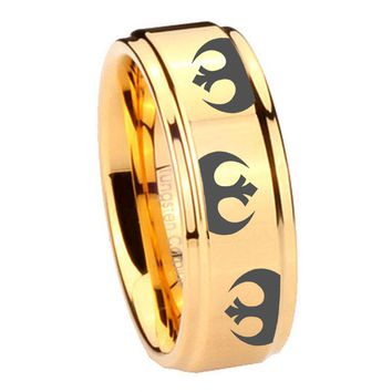 8MM Glossy Gold Step Edges Star Wars Rebel Alliance Tungsten Carbide Laser Engraved Ring