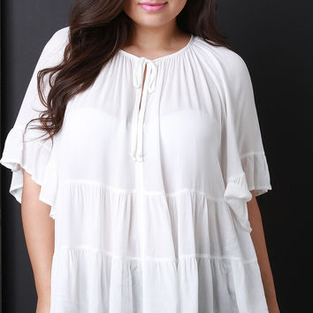 Casual Tiered Peasant Top