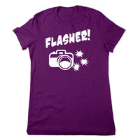 Funny Camera Shirt, Flasher, Camera T Shirt, Funny TShirt, I Flash People, Photography Gift, Photographer, Funny Tee, Ladies Women Plus Size
