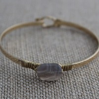 Dainty Stone Gold Bangle Bracelet-Smoke
