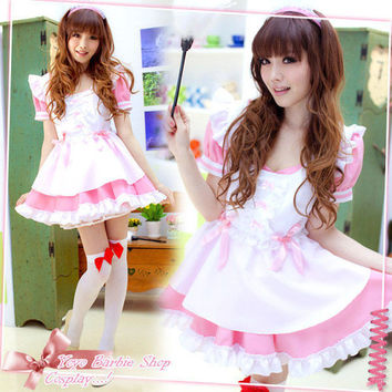 Sexy Japan Pink Ruffle Lolita Maid Outfit Cosplay Halloween Costume Fancy Dress