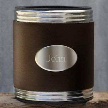 Personalized Brown Leather Koozie Free Engraving