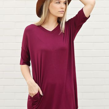 Burgundy PIKO V-Neck Pocket Tee Dress