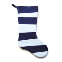 Navy Christmas Stocking, Suess inspired, Crazy Christmas Stocking, Stripes, Nautical Christmas Stocking,