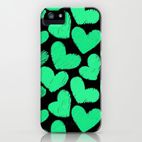 Sketchy hearts in turquoise and black iPhone & iPod Case by Silvianna