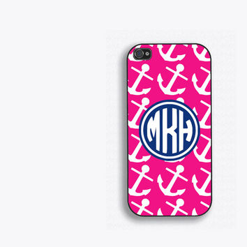 Preppy Nautical Anchor Monogram Phone Case | iPhone 4, 4s, 5, 5s, 5c, 6, 6plus | Galaxy S3, S4, S5 | iPod Touch 4, 5 | Cute Phone Case Pink
