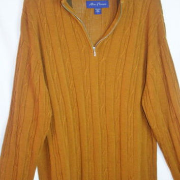 Mens Alan Flusser Sz L ¼ Zip Pull Over Sweater Rust Caramel Cotton Cable Knit