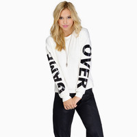 Autumn White Alphabet Print Round-neck Long Sleeve Hoodies [6407770884]
