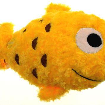 "Yellow Fish Pillow Color LED Light Up Flash Plush 12"" Microbeads Home Bed Decor"