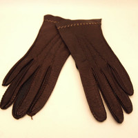 Vintage Fownes Brown Leather Driving Gloves Size Small Size 6.5 Thin Leather Winter Gloves Embroidered Wrist Length Equestrian Victorian