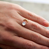 Crescent Moon Ring with genuine vintage opal stone. Adjustable. Stackable.