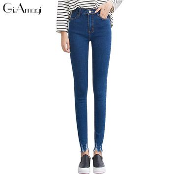 Dark Blue High Waist Jeans Women Skinny Ripped Jeans Denim Trousers Fashion Pencil Jeans For Women Stretch Pants Women