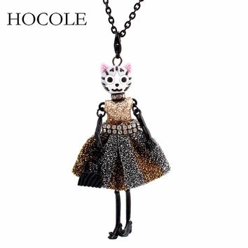 Lovely Cat Face Doll Necklace French Dress Winter Long Sweater Chain Pendant Statement Collares For Women Party Jewelry Bijoux