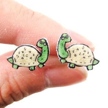 Tiny Turtle Tortoise Animal Illustration Stud Earrings | Handmade Shrink Plastic