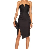 Bonded Silk Strapless Dress in Black