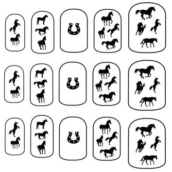 Horses & Horseshoes - Nail Art - Nail Decals