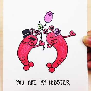 You're my lobster, Friends TV Show, Valentines Day Card for boyfriend, funny love card for girlfriend, hand drawn card for husband, wife